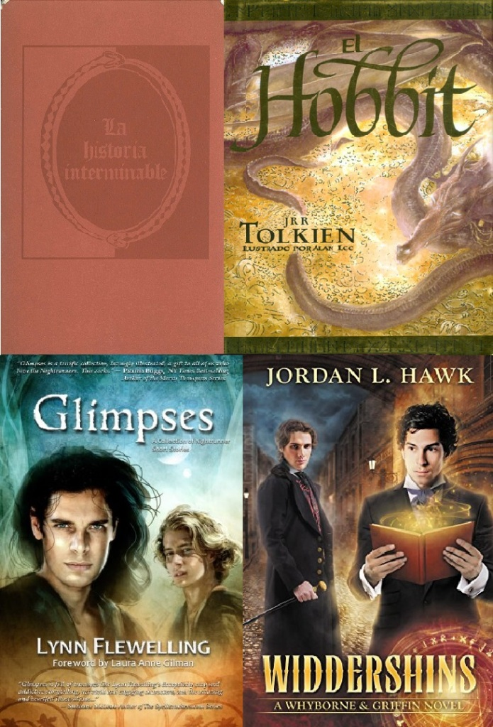 The covers of The Neverending Story, The Hobbit, Glimpses and Widdershins.