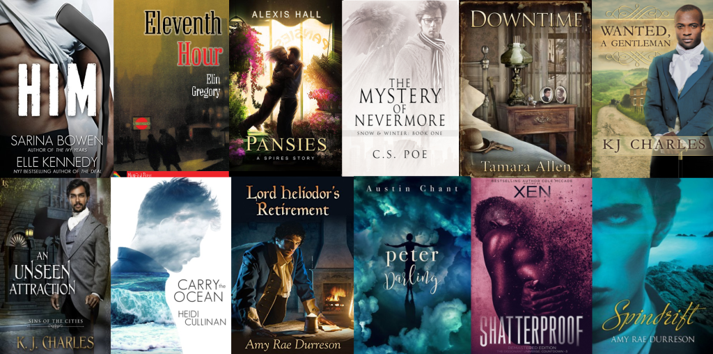 Covers of twelve books/series I discovered during my third year as a Romance reader.