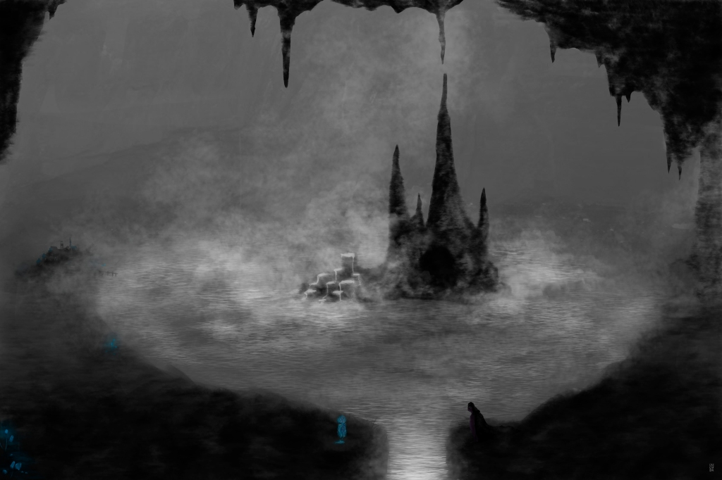An underground lake with an island in the center. There are two characters on the nearby shore, separated by a river. One is short, blue and transparent, the other is tall, dark and wears a cloak.