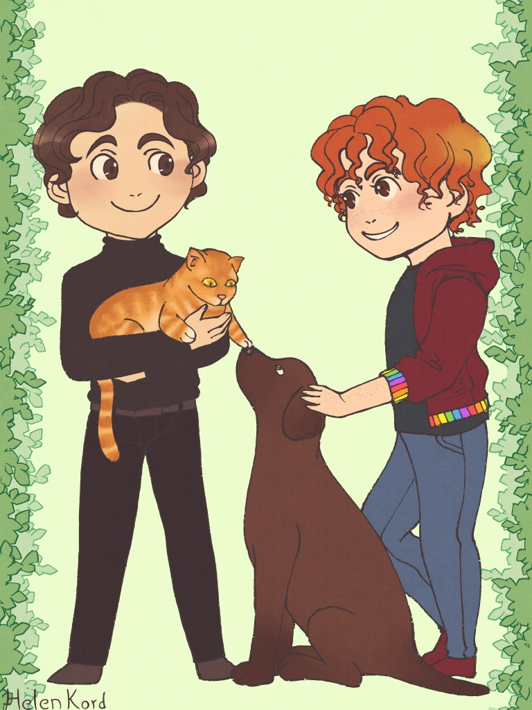 A boy with brown hair (left) and a redheaded boy (right) looking and smiling at each other. The one on the left is wearing a black turtleneck and black trousers while he holds a ginger cat. the one on the right wears a dark t-shirt that once belonged to the other man and a red jacket with rainbow-coloured details. He's petting the head of a brown labrador sitting between them. The dog and the cat are also looking at each other, and the cat is softly booping the dog with a gentle paw.