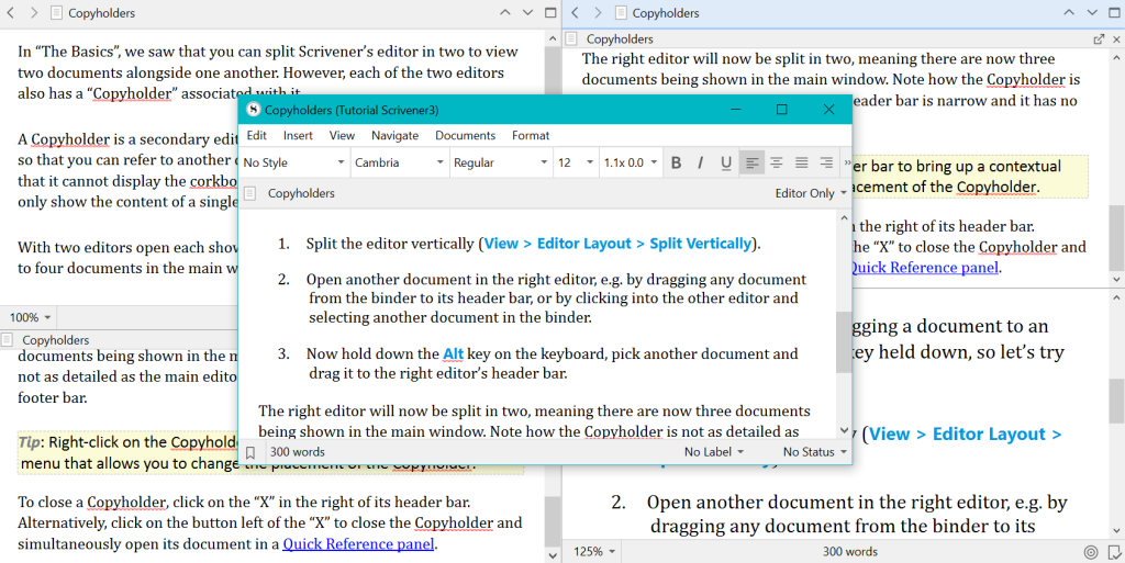 A screenshot of five files open on the same Scrivener project by splitting the editing window in two, using copyholders for both files, then a Quick Reference on a floating window.