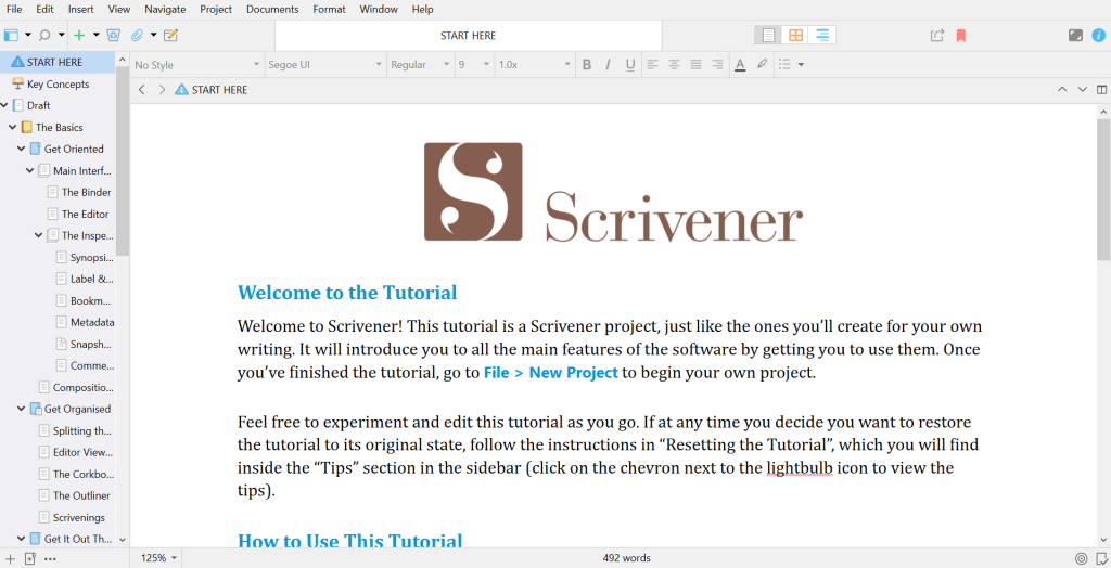 A screenshot of the Scrivener Tutorial, showing the different folders and documents on the left sidebar.
